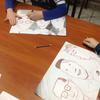 """Podczas piątkowego koła plastycznego rysowaliśmy portrety bohaterów z powieści """"Mistrz i Małgorzata"""" Bułhakowa."""